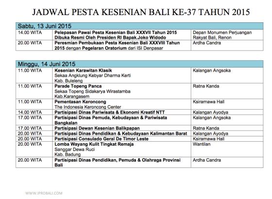 Jadwal Pesta Kesenian Bali ke-37 tahun 2015